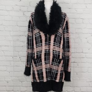 NWT Black Rivet Cardigan with Faux Fur Trim